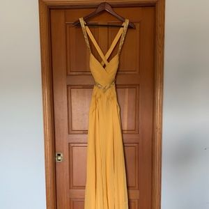 Yellow backless prom dress